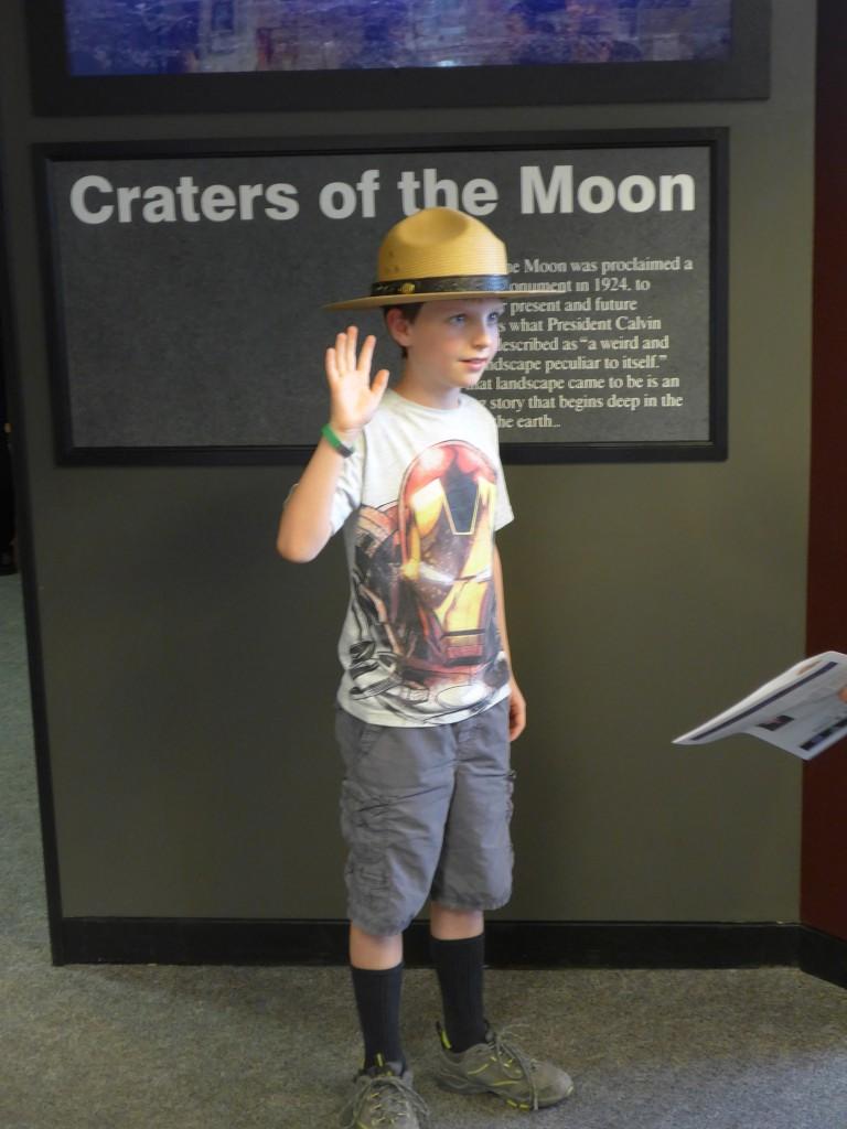 Being sworn in as a Junior Ranger