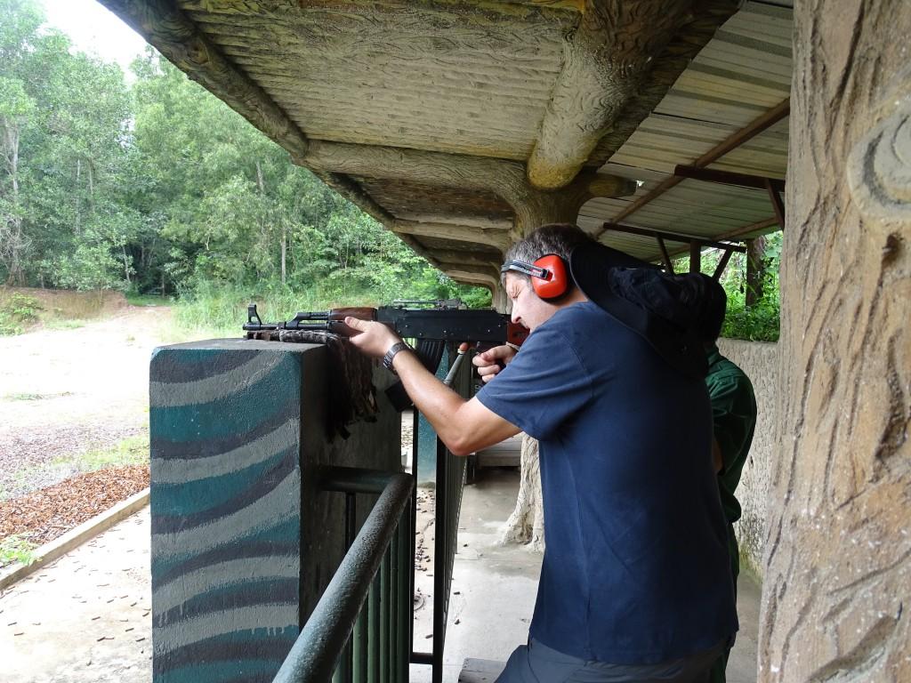 Ben and Rob both had a go at firing an AK-47 (at $1 per bullet)