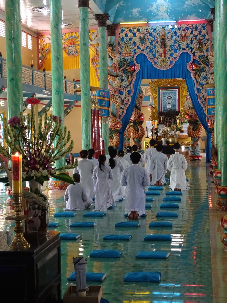 Caodaism is a popular religion here that combines Christianity with Buddhism and Hinduism.