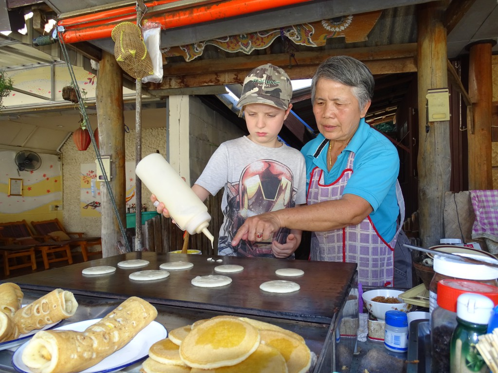 Making pancakes with 'Grandma""